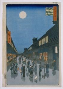 """Utagawa Hiroshige (1797-1858), """"Number 90: Saruwaka chō Yoru no Kei (Night View of Saruwakacho)"""", 1856"""