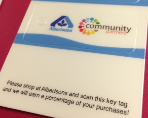 Whenever you shop at Albertson's, ask the cashier to scan your tag. The company will make a donation to the Foundation for each purchase.