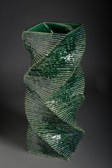 Gaku Shakunaga, Spiraling Pyramid- glazed stoneware