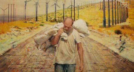 Tom Birkner, Walking Man- oil on canvas